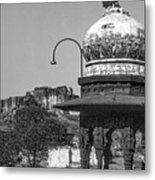 Mehrangarh Fort - Approach With Caution Bw Metal Print
