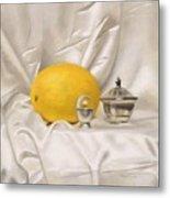 Melon On White Silk Metal Print
