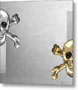 Memento Mori - Gold And Silver Human Skulls And Bones On White Canvas Metal Print