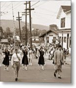 Memorial Day Parade Ashley Pa With Train Station And The Huber Colliery In Background 1955 Metal Print