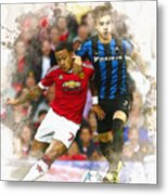 Memphis Depay Of Manchester United In Action Metal Print