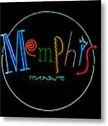 Memphis Neon Sign Metal Print