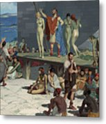 Men Bid On Women At A Slave Market Metal Print
