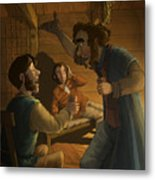 Men In A Hut Metal Print
