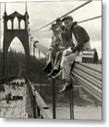 Men On Bridge Metal Print