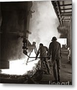 Men Working Blast Furnace At Steel Metal Print