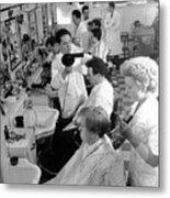 Men's Hairdressing Metal Print by Maurice Ambler