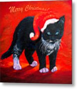 Meow Christmas Kitty Metal Print