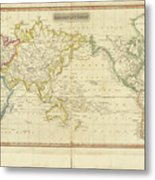 Mercator's Chart Metal Print