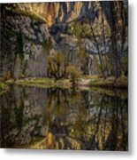 Merced River Morning Light Reflection Metal Print