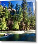 Merced River With The El Capitan Yosemite  National Park California Metal Print