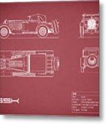 Mercedes Ssk Blueprint - Red Metal Print