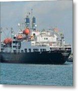 Merchant Marine Training Ship Kennedy And Tugboats Metal Print