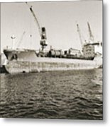 Merchant Ship Docked At Barcelona's Harbour Metal Print