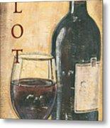 Merlot Wine and Grapes Metal Print