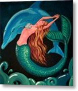 Mermaid And Dolphin  Metal Print