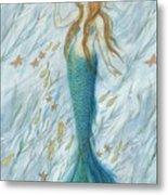 Mermaid And Her Golden Seahorse Metal Print