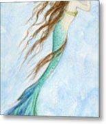 Mermaid And Her Seahorse Metal Print