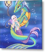 Mermaid And Sea Dragon Metal Print