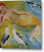 Mermaid And Seagulls Metal Print