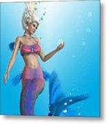 Mermaid In Aqua Metal Print