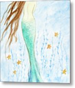 Mermaid In Her Garden Metal Print