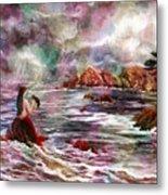 Mermaid In Rainbow Raindrops Metal Print