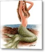 mermaid On The Shore Metal Print