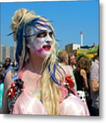 Mermaid Parade Man In Coney Island Metal Print