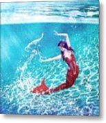 Mermaid Red Metal Print