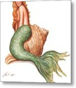 Mermaid Shell Metal Print