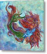 Mermaid Swimming Metal Print