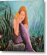 Mermaid Under The Sea Metal Print