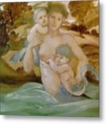 Mermaid With Her Offspring Metal Print