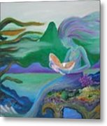 Mermaid With Oyster Metal Print