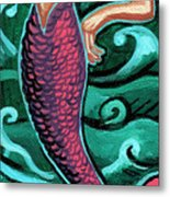 Mermaid With Pearl Metal Print