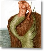 Merman On The Rocks Metal Print