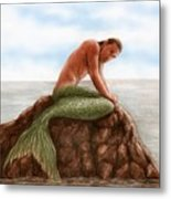 Merman Resting Metal Print