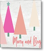 Merry And Bright Trees- Art By Linda Woods Metal Print
