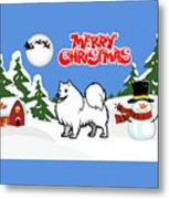 Merry Christmas American Eskimo Dog  Metal Print