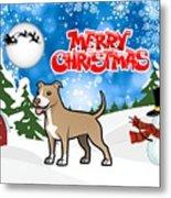 Merry Christmas American Pitbull Terrier  Metal Print