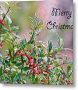 Merry Christmas - Berries Metal Print
