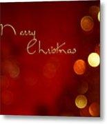 Merry Christmas Card - Bokeh Metal Print