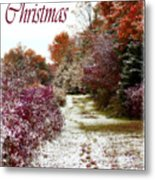 Merry Christmas Colours And Snow Metal Print