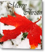Merry Christmas Leaf Metal Print