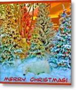 Merry Christmas Polar Bears Metal Print