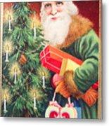 Merry Christmas Santa Delivers Gifts Vintage Card Metal Print