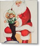 Merry Christmas Santa Pulls Doll From His Sack Vintage Card Metal Print