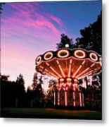 Merry - Go - Round At Sunset Metal Print