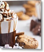 Messy Hot Chocolate, Cream And Marshmallows And A Choc-chip Cook Metal Print